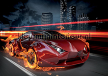 Car in flames fototapet Kleurmijninterieur teenagere