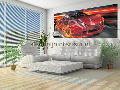 Car in flames fotomurali 132-VE P Auto - Trasporto Kleurmijninterieur