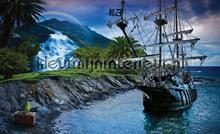 Desert island at dusk fototapet Kleurmijninterieur pirater