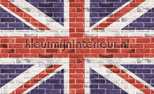 Graffiti on the brick wall gb flag fotobehang Kleurmijninterieur kinderkamer jongens
