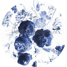 royal blue flowers fotobehang Kek Amsterdam Circles and Panels ck-001