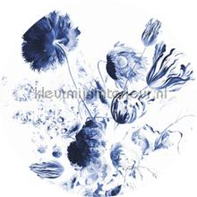 royal blue flowers fotobehang Kek Amsterdam Circles and Panels ck-002