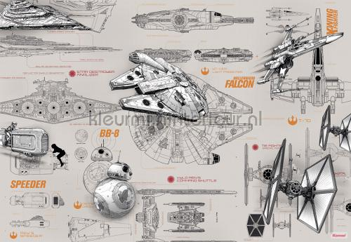 star wars blueprints fotobehang 8-493 Disney Edition 3 Komar