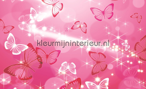 Pink butterflies fotomurales 332-VE M Girls Kleurmijninterieur