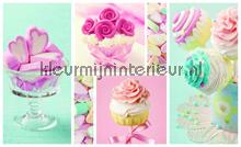 Pink cupcake cookies photomural Kleurmijninterieur all-images