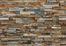 Colorful stone wall fotobehang Ideal Decor Steden Gebouwen