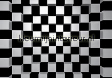 Black and white squares fotobehang Ideal Decor Grafisch Abstract