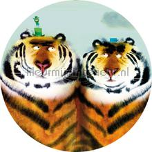 two tigers fotomurais Kek Amsterdam Kinder Behangcirkels ck-041