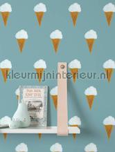 Ijsjes petrol papier peint Kek Amsterdam Kinderbehang wp-130