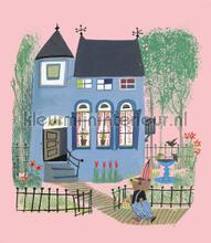 Bear with Blue House photomural Kek Amsterdam Kinderbehang WS-043
