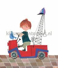 Red Tow Truck photomural Kek Amsterdam Kinderbehang WS-049