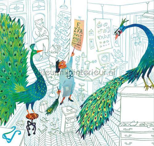 Green Peacocks fotomurales WS-084 Kinderbehang Kek Amsterdam