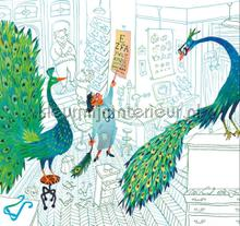 Green Peacocks photomural Kek Amsterdam Kinderbehang WS-084