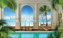 Palm beach view through columns III fotobehang Kleurmijninterieur Zon---Zee---Strand
