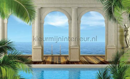 Kleur Mijn Interieur : Sea view through columns fotobehang landscape kleurmijninterieur