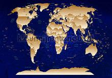 Worldmap deep blue photomural Kleurmijninterieur world maps