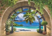 Archway to the beach fotobehang Kleurmijninterieur Zon Zee Strand