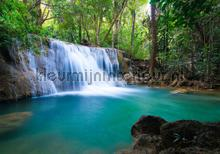 Waterfall wit turquois water fototapet Kleurmijninterieur verdenskort