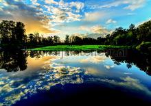 Lake clouds fotobehang Kleurmijninterieur Bossen