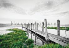 Grey walking bridge fotobehang Kleurmijninterieur Zon Zee Strand