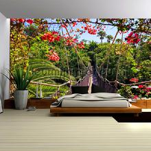 Tropical suspension bridge fotobehang Kleurmijninterieur Bloemen Planten