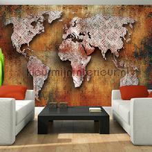 Worldmap fotobehang Kleurmijninterieur wereldkaarten