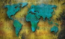 Turquoise world photomural Kleurmijninterieur world maps