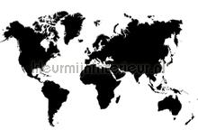Black world photomural Kleurmijninterieur world maps