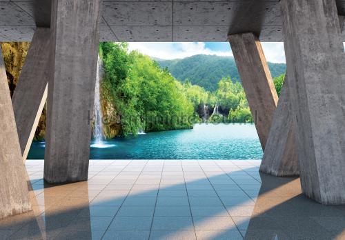 Kleur Mijn Interieur : View on waterfall fotobehang landscape kleurmijninterieur