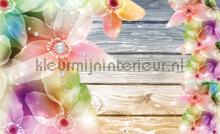 Wood and flowers fototapeten Kleurmijninterieur alle-bilder