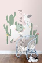Alpaca zacht roze en groen fotomurais Esta for Kids todas as imagens