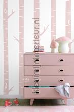 Berken boomstammen zacht roze papel pintado Esta for Kids Wallpaper creations