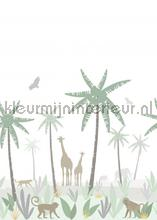 Jungle dieren groen, grijs en bruin photomural Esta for Kids world maps
