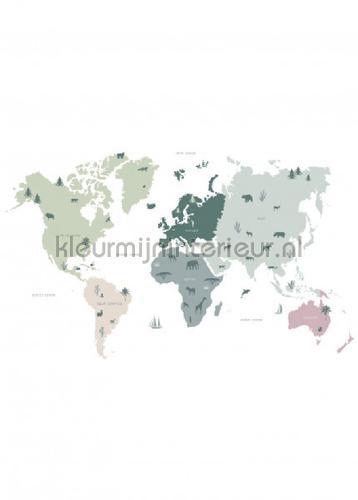 wereldkaart voor kinderen mintgroen, grijs en roze fototapeten 153-158929 babyzimmer Esta for Kids