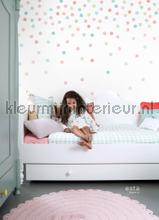Confetti dots roze, groen en blauw papel de parede Esta for Kids Wallpaper creations