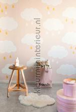 Regenwolkjes roze fotobehang Onszelf Little Wallpaper OZP-3750