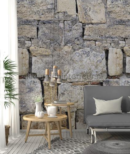 Natuursteen muur met grote blokken papier murales ak1005 Moderne - Résumé Behang Expresse
