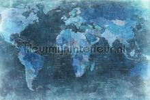 World Map Blue photomural Rebel Walls world maps