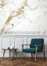 Marmer mosaic wit goud fototapet Kek Amsterdam Mural room set photo's