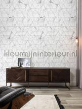 Marmer mosaic wit grijs fototapet Kek Amsterdam Mural room set photo's