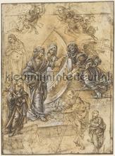 Madonna heilige vrouwen engelen en figuren Piero d fotobehang Kleurmijninterieur Kunst---Ambiance