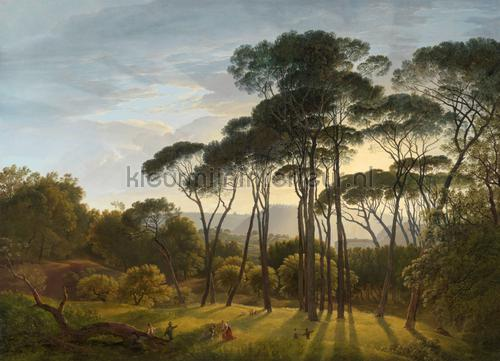 Italiaans landschap met parasoldennen Hendrik Voog fotobehang 0008 Kunst - Ambiance Kleurmijninterieur