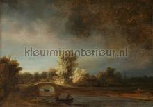 Landschap met stenen brug Rembrandt van Rijn fotobehang Kleurmijninterieur Kunst Ambiance