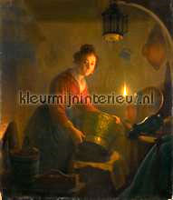 A woman in a kitchen by candlelight Michiel Verste photomural Kleurmijninterieur all-images