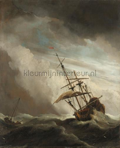 Ship on the high seas caught by a squall the gust fotobehang 0026 Kunst - Ambiance Kleurmijninterieur