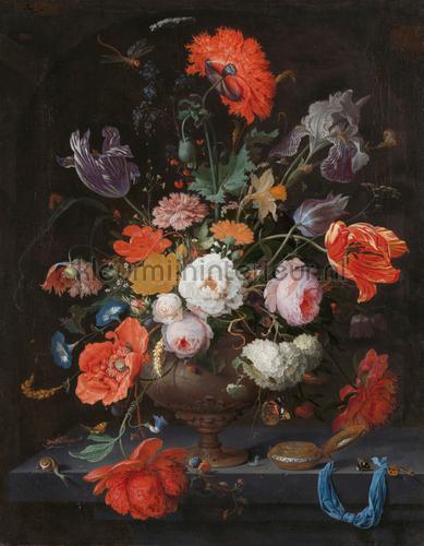 Stilleven met bloemen en een horloge Abraham Migno fotobehang 0030 Kunst - Ambiance Kleurmijninterieur