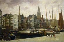 Het Damrak in Amsterdam George Hendrik Breitner fotobehang Kleurmijninterieur Kunst---Ambiance