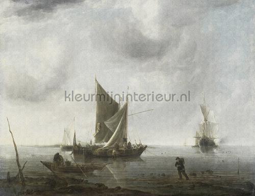 Anchored ships fotobehang 8002 Kunst - Ambiance Dutch Wallcoverings
