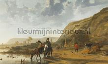 River landscape with horseman fotobehang Dutch Wallcoverings Painted Memories 8028