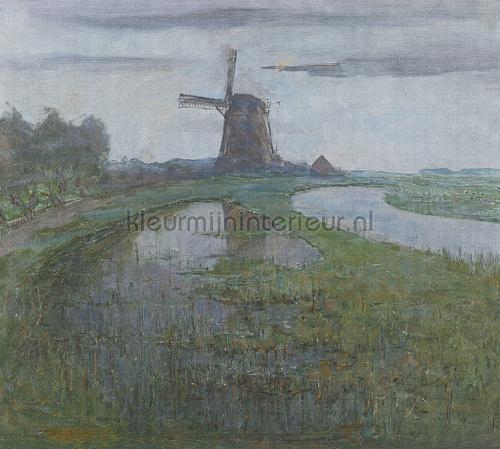 Mill in the moonlight fotomurales 8033 Painted Memories Dutch Wallcoverings